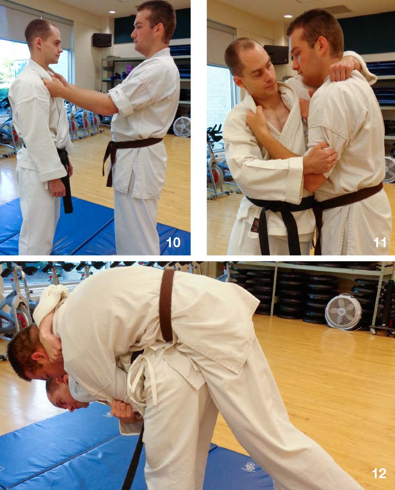 Kubi Goshi (neck and hip throw—Photo's 10-11-12)