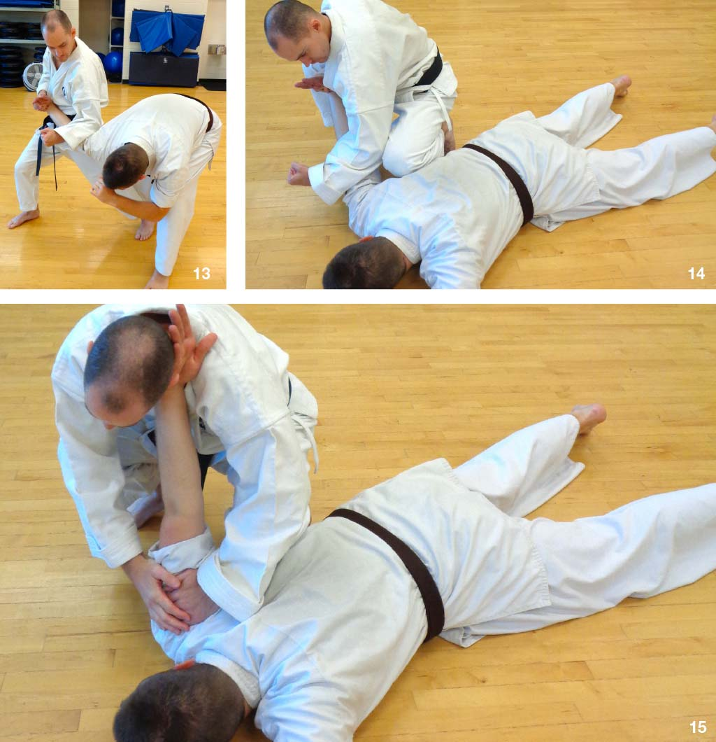 pinning the attacker down (Photo's 13-14)