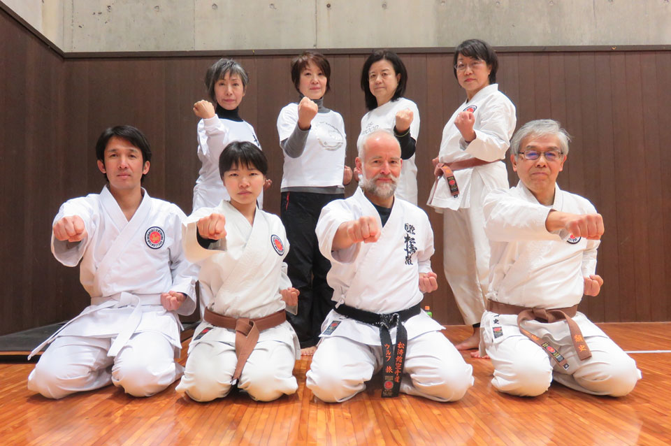 Author, Wolf Herbert (centre) and students in his dojo in Tokushima, Japan.